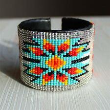 BR508 Original Glass Bead Sunburst Cuff Crystal Pearl Wide Bracelet Artisan Art