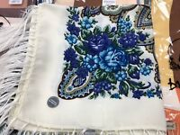 Pavlovo Posad style Scarf Russian Shawl Wool with Fringe (120x120 cm)