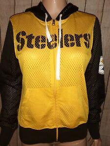 NFL Womens Mesh Longsleeve Hooded Zip Up Pittsburgh Steelers Sweatshirt Pullover