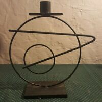 Vintage Geometric New Wave Psychedelic 70s Candle Holder Metal Black
