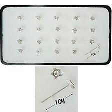 1 Orecchini Piercing Naso Nasini Micro Argento 925 STELLA cristallo Bianco 3 mm