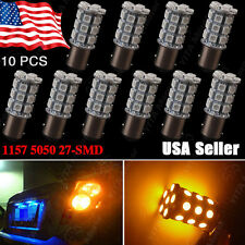 10 X Amber Yellow 1157 High Power 27-LED Turn Signal Blinker Lights 2357A BAY15D
