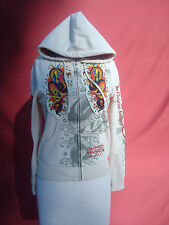 Ed Hardy by Christian Audigier White Women's Sweatshirt Jacket Coat S Hollywood