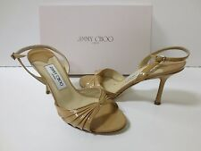 JIMMY CHOO KING Slingback Sandals Nude Patent Leather Sz 38 EUC