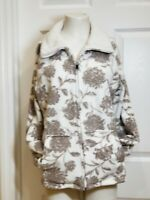 Croft & Barrow women's full zip front  sweater fleece jacket light brown size PL