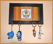 Hand Painted Wood Glass Key Wall Holder with Five hooks from India