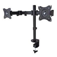 "Dual Steel 360° Monitor Arm Desk Table Mount Stand for 2 LCD Flat 13-27"" 19"" 24"""