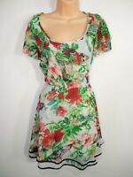 WOMENS AX PARIS CURVE UK 20 MULTICOLOUR FLORAL FRILLY FIT & FLARE SUMMER DRESS