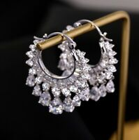 18k White Gold GF Chandelier Earrings made w Swarovski Crystal Topaz Stone