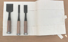 "Set of 4 Bench Chisel w/ Free Canvas Chisel Holder 1/4"", 1/2"" 3/4"" and 1"""