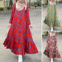 Women Muslim Jilbab Kaftan Casual Vintage Flare Floral Ruffles Long Shirt Dress
