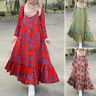 Women Muslim Jilbab Kaftan Maxi Dress Casual Vintage Floral Long Shirt Sundress