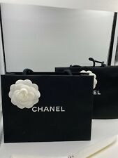 CHANEL BLACK PAPER SHOPPING BAG with FLOWER and RIBBON TIED