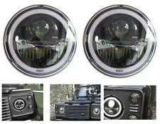 "WIPAC Land Rover Defender 7"" Black LED Headlights with LED Halo Right Hand Drive"