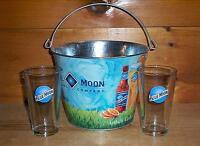 BLUE MOON BREWERY 2 BEER PINT GLASSES & ARTFULLY CRAFTED ICE BUCKET NEW