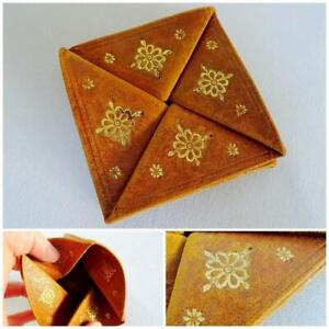 Vintage Coin Purse Pouch Folding Tan Leather Gilt Tooled Twisted Square