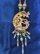 Kirks Folly stunning necklace and pendant cherub sitting on the moon