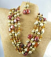 Brown Round Beads Fashion Necklace Earrings Costume Women Jewelry