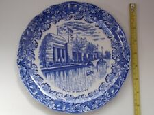 More details for british empire exhibition, 'palace of industry' - blue & white china plate, 1924