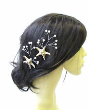 2x Real Starfish Vine Hair Pins Bridal Bridesmaid Mermaid Pearl Coral Ivory 1500