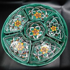 Mexican Talavera Pottery Round Platter & Six Divided Condiments Dish Green Flora