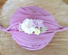 Pale Lilac Soft Cotton Jersey Stretchy Wrap Headband Set Baby Newborn Photo Prop