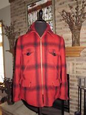 Vintage KLINKERFUES North Country Mackinaw Red Plaid Heavy Wool Coat 44  L