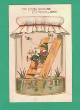 Scarce 1902 New Year Postcard Frog Reads Paper In Specimen Jar! Pond Bee Coffee