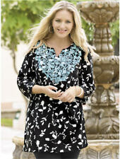1X 16/18 NWT ULLA POPKEN FLORAL SILHOUETTES EMBROIDERED TUNIC BLACK TURQUOISE