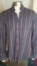 PAUL & SHARK ~ Navy Blue w Coloured Striped Long Sleeve Cotton Business Shirt 44