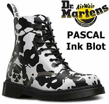 Dr Martens Ladies Pascal 1460 Black White Ink Blot Backhand Leather Ankle Boots