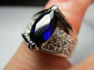 STERLING SILVER 925 ESTATE ROSS SIMONS CREATED BLUE SAPPHIRE RING SIZE 4.5