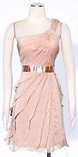 ADRIANNA PAPELL Beige  Sz 6 Women's Cocktail One Shoulder Tiered Dress $159 New