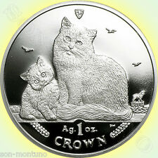 2013 Isle of Man - SIBERIAN CAT COIN - 1 oz Bullion Silver Proof + Mint BOX/COA