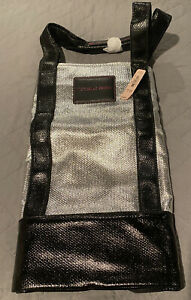 NWT Victoria's Secret Silver Black Logo Faux Pebbled Leather Weekender Tote Bag