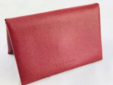KITON Business Card Wallet Holder Red Leather Case Credit Cards Money Snap