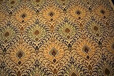 """Brown Yellow Paisley 100% Flax Linen Fabric 58""""W Upholstery BTY Natural Fiber"""