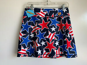 NEW ~ LOUDMOUTH GOLF Ladies Star Studded Skirt Skort, Attached Shorts ~SMALL