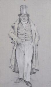 Vintage theatre male costume design gouache/pencil painting
