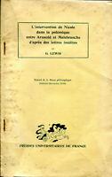 Lewis - L'intervention de Nicole dans la polémique entre Arnauld et Malebranche