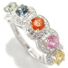 Sterling Silver 2.04ctw Orange Sapphire & Multi Sapphire Band Ring, Size 7