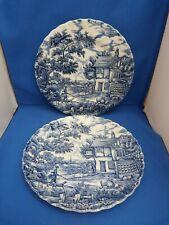 2 Vintage Round Myott Blue/White The Hunter Dinner Plates W26cms Hand Engraved