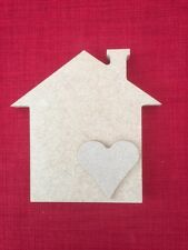 Free Standing MDF House shape with heart 15cm high