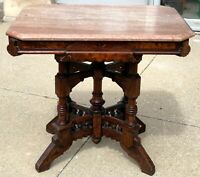 "Antique 31"" Victorian Gothic Turned Maple Wood Eastlake Marble Top End Table"