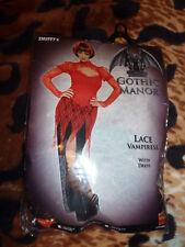 Womens Halloween Gothic Manor Lace Vampiress Fancy Dress Costume - UK 12-14 medi