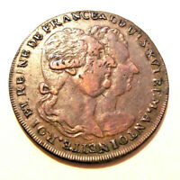 1793 Louis & M Antoinette France Conder / 1/2 PENNY TOKEN (LOT DC16)