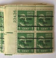 One #804 1¢ George Washington Bureau Precancel Plate Block of 4 VF MNH OG