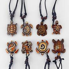 8pcs Mixed Ethnic Tribal Faux Yak Bone Sea Turtle Tortoise Pendant Necklace