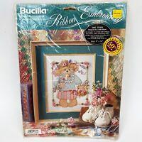 "Bucilla 40975 Ribbon Embroidery Counted Cross Stitch ""Mrs. Teddy Bear"" Gillum"