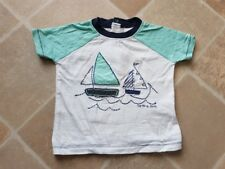 Next Baby Boys White/Blue/GreenShort Sleeved Boat TShirt 3-6 Months Nice Cond